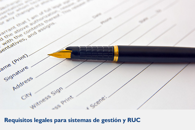 Requisitos legales para sistema de gestion y ruc
